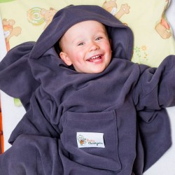 Детское Одеяло DELUXE с Рукавами и Капюшоном, серое