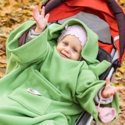 Kapuutsi ja Varrukatega laste Pleed DELUXE, roheline
