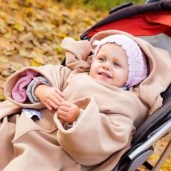 Детское Одеяло DELUXE с Рукавами и Капюшоном, бежевое