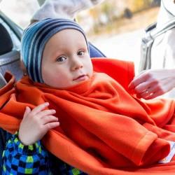 Детское Одеяло DELUXE с Рукавами и Капюшоном, оранжевое