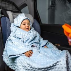 Тёплое Детское Одеяло с Рукавами и Капюшоном, голубое