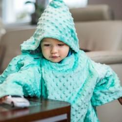 Тёплое Детское Одеяло с Рукавами и Капюшоном, светло-зелёное