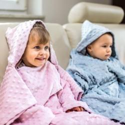 Тёплое Детское Одеяло с Рукавами и Капюшоном, розовое