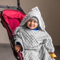 Тёплое Детское Одеяло с Рукавами и Капюшоном, светло-серое