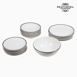 19-osaline Taldrikute Komplekt China White/Brown