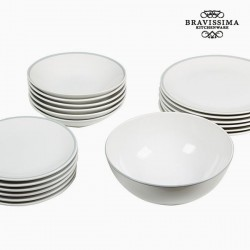 19-osaline Taldrikute Komplekt China White/Grey