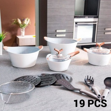 Набор Кухонной Посуды White Premium (19 пред.)