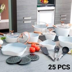 25-osaline Pannide ja Küpsetustarvete Komplekt White Premium