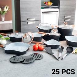 25-osaline Pannide ja Küpsetustarvete Komplekt Black Premium