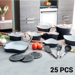 Набор Сковород и Кухонной Посуды Black Premium (25 пред.)