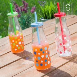 Стакан - Бутылка с Соломинкой Polka Dot