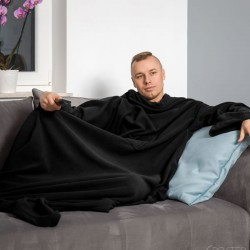 Тёплое Одеяло с Рукавами DELUXE, Чёрное
