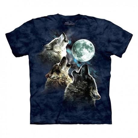 3D prindiga T-särk Wolf Moon in Blue