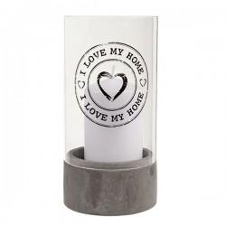 Klaasist küünlaalus I Love My Home Valge Küünlaga