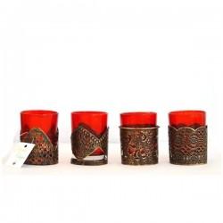 Подставки для свеч с красными подсвечниками (4шт)