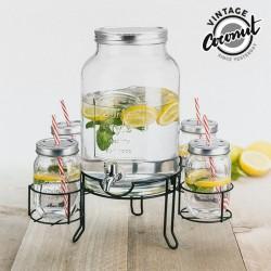 Диспенсер для Напитков с Подставкой и 4 Стаканами