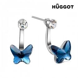 Hûggot Swing Покрытые Родием Серёжки с Цирконием и Swarovski кристаллами