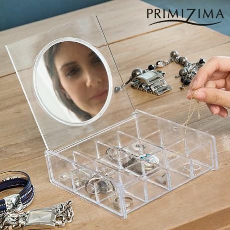 Прозрачная Шкатулка для Украшений с Зеркалом