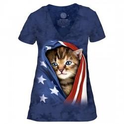 V-образная Женская Футболка Tri-Blend Patriotic Kitten