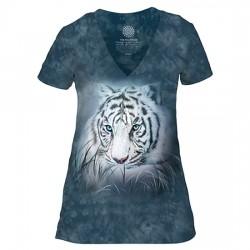 Tri-Blend Naiste T-särk V-kaelusega White Tiger