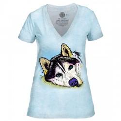 Tri-Blend Naiste T-särk V-kaelusega Siberian Husky