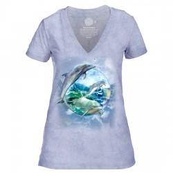 Tri-Blend Naiste T-särk V-kaelusega Dolphin Bubble