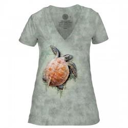 Tri-Blend Naiste T-särk V-kaelusega Sea Turtle