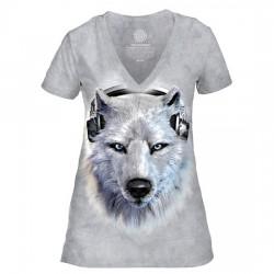 Tri-Blend Naiste T-särk V-kaelusega White Wolf DJ