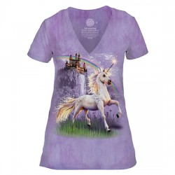 Tri-Blend Naiste T-särk V-kaelusega Unicorn Castle