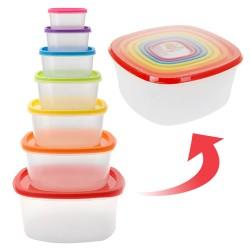 Коробочки для Хранения с Цветными Крышками (7 шт.)