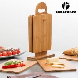 Набор Бамбуковых Досок для Резки на Подставке TakeTokio (7ед.)