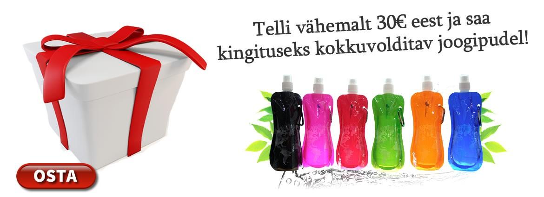Telli vähemalt 30€ eest ja saad Kokkuvolditava Joogipudeli kingituseks!